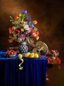 Kevin Best Still Life Flowers, Lemons, Violin